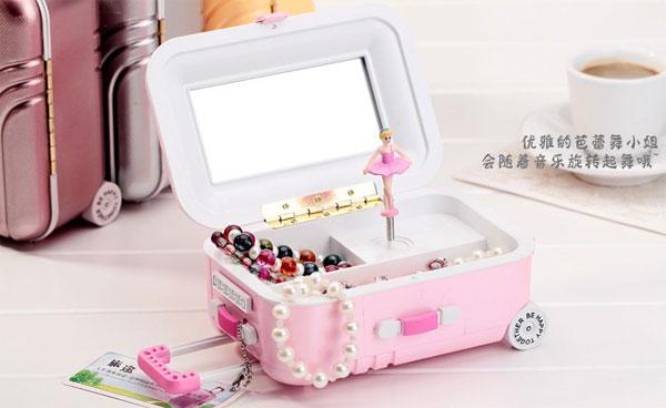 创意行李箱音乐盒 送女友送闺蜜新奇首饰盒礼物