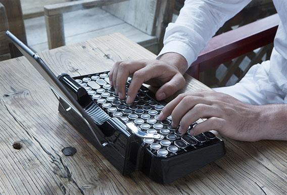 新晋网红无线蓝牙复古打字机 个性蓝牙键盘 创意礼物 第2张