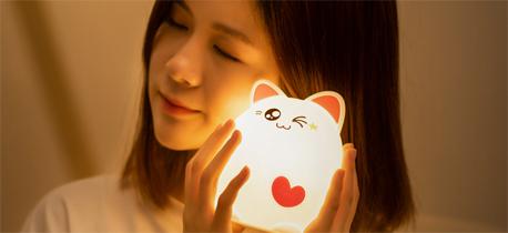 可以捏的睡猫硅胶小夜灯  超萌的释放压力的神器