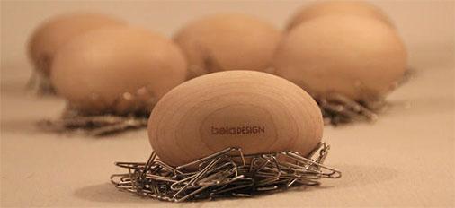 本来设计原木蛋 像鸟巢的曲别针收纳创意礼物