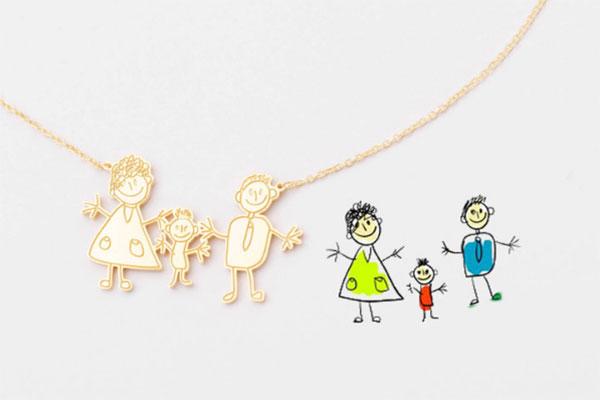 美国设计师Grace·简笔画涂鸦手绘定制礼物 独一无二的项链饰品