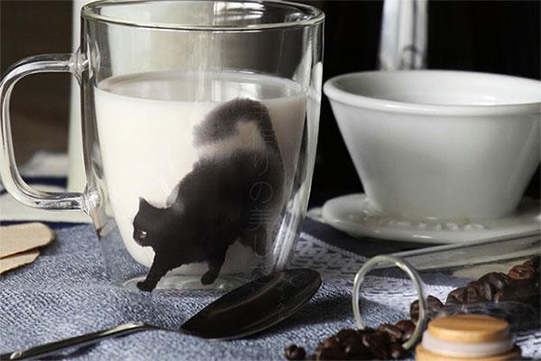 水墨猫咪双层玻璃杯 超有sense的网红独门好杯